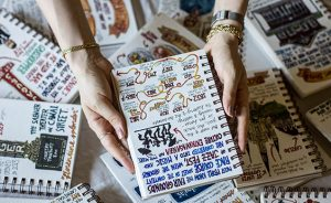 Fick's sketchbooks are filled with vignettes of everyday life.