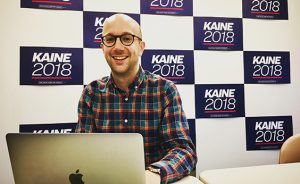 Ian Sams works as Senator Tim Kaine's communications director for his 2018 re-election campaign.