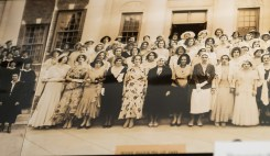 Photograph of 1931 women graduates taken in front of Doster Hall.