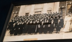 Photograph of 1930 women graduates taken in front of Doster Hall.