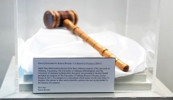 This gavel was presented to the first female president pro tempore of The University of Alabama Board of Trustees, Karen Brooks in 2017.