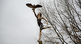 sculpture of Minerva, the Roman goddess of wisdom, at the Manderson Landing