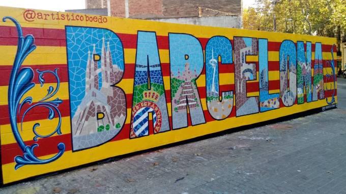 El mural que derriba muros en Barcelona es de trazo argentino