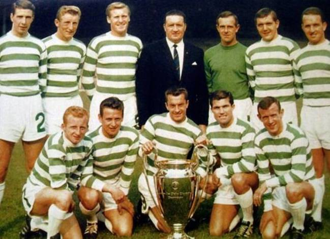 Celtic players with the 1967 European Cup.