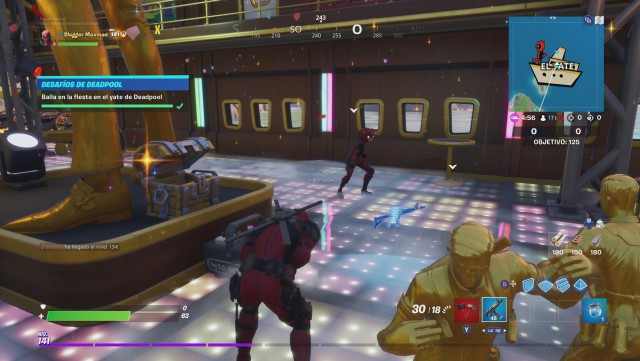 fortnite chapter 2 season 2 challenges of deadpool week 8 challenge dance in the party on the yacht of deadpool