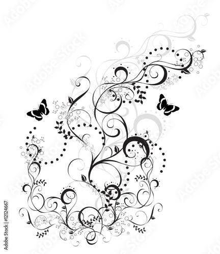 arabesque floral noir et blanc
