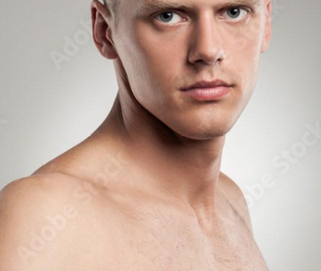 Portrait Of Handsome Naked Caucasian Guy