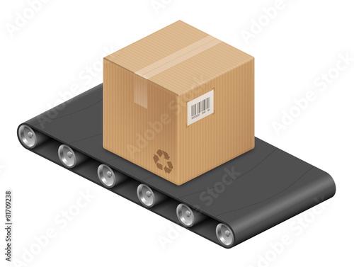 boite en carton et tapis roulant