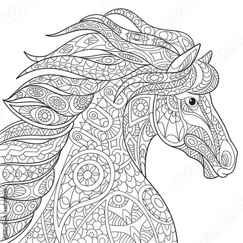 Zentangle Stylized Cartoon Horse Mustang Isolated On