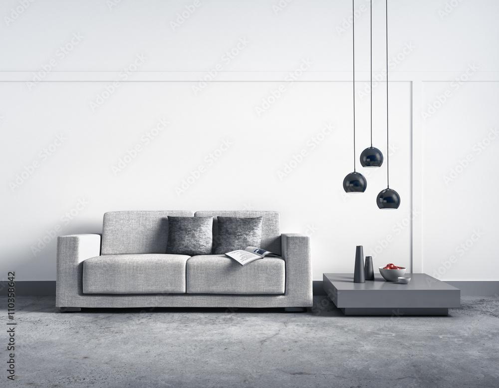 Foto auf Acrylglas Sofa vor heller Wand - Nikkel-Art.de