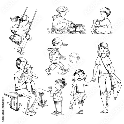 Set Sketches Kids Children Drawing By Hand Vintage Style Buy This Stock Vector And Explore Similar Vectors At Adobe Stock Adobe Stock