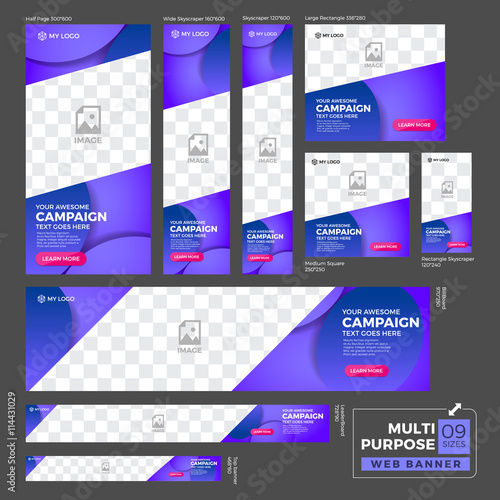 Multipurpose Ad Banner Design Template Standard Size Web Banner Set Buy This Stock Vector