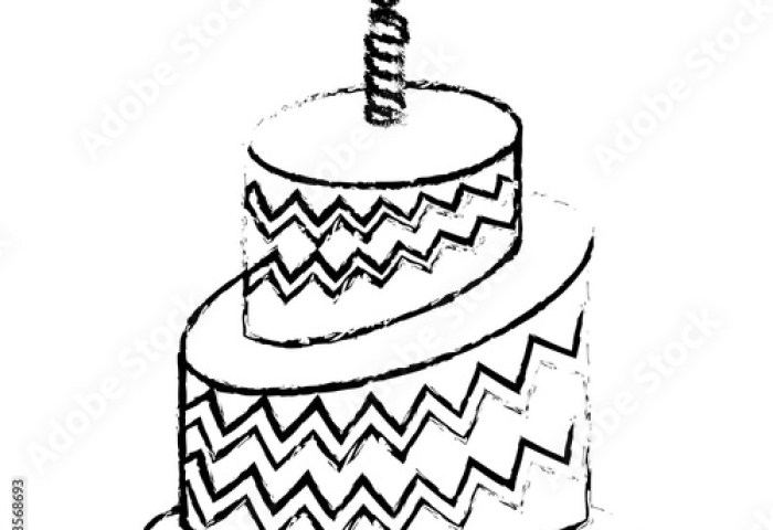 Birthday Cake Icon Image Sketch Line Vector Illustration Design