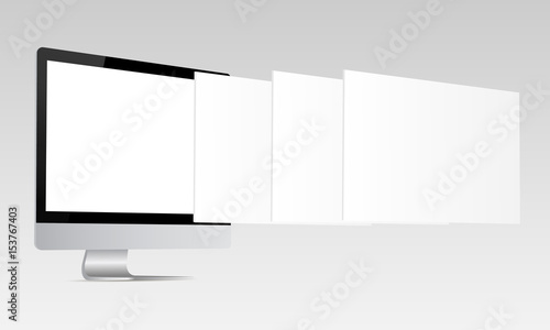 Responsive Screen Mockup Computer Monitor With Blank Screen And