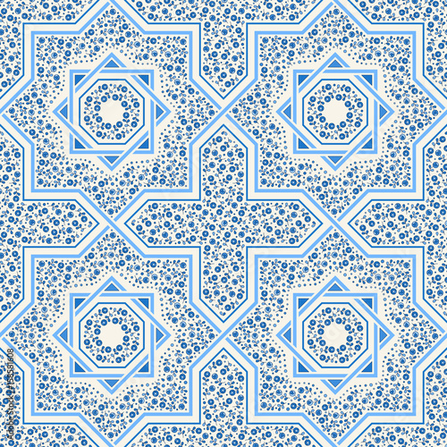 https stock adobe com images patterned floor tile moroccan pattern design eight ray star seamless vector pattern vector illustration moorish mosaic in blue small flowers in octagon star shape 158581608 start checkout 1 content id 158581608