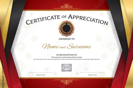 Luxury certificate template with elegant golden red border frame     Luxury certificate template with elegant golden red border frame  Diploma  design for graduation or completion