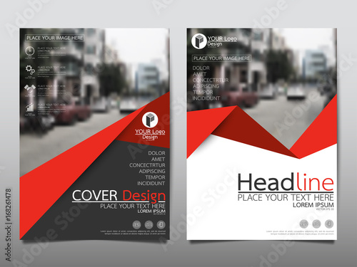 Red Flyer Cover Business Brochure Vector Design Leaflet Advertising Abstract Background Modern