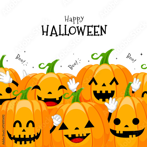 Group Of Cute Cartoon Pumpkin Character Design Happy Halloween Day Concept Illustration Isolated On White Background Buy This Stock Vector And Explore Similar Vectors At Adobe Stock Adobe Stock