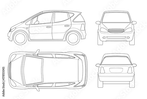 Small Compact Electric vehicle or hybrid car on outline. Eco ...