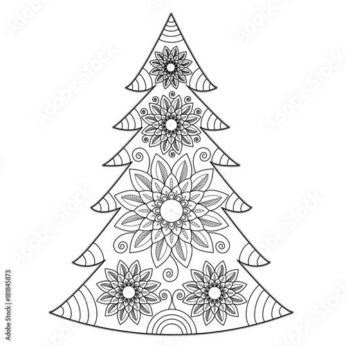 Dettagli natale immagini di natale da stampare e ritagliare per le feste. Mandala Christmas Tree Vector For Coloring Book Albero Di Natale Mandala Vettoriale Da Colorare Stock Vector Adobe Stock