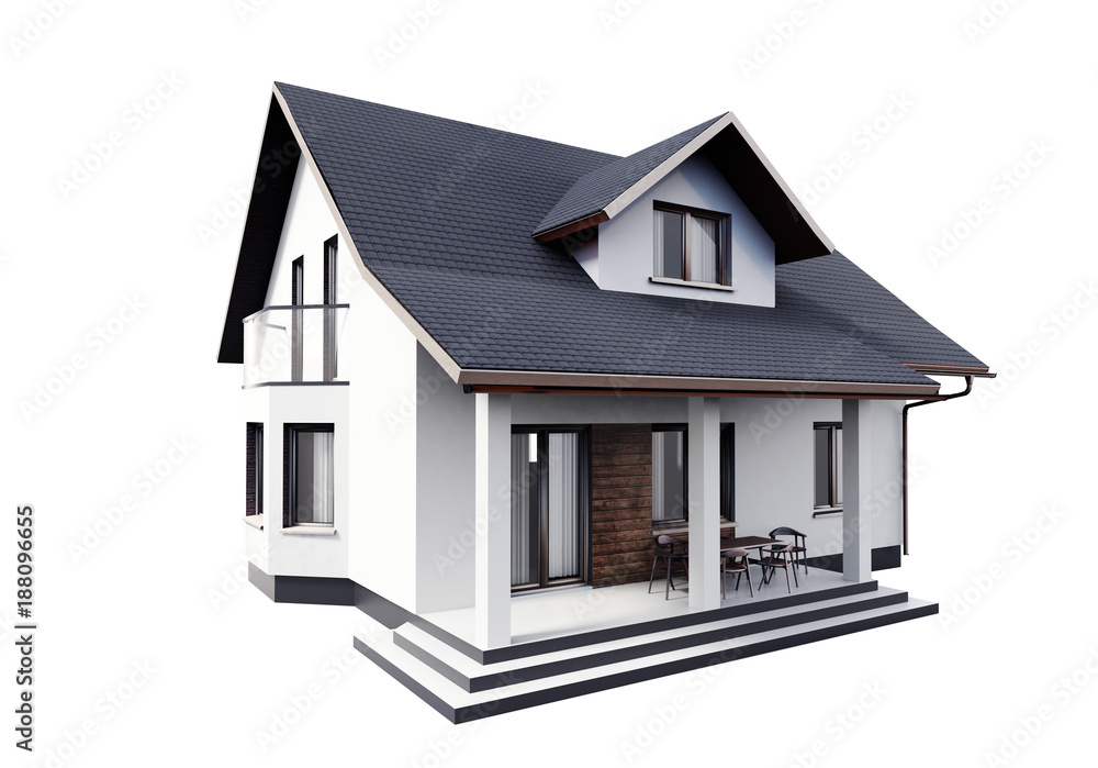 House 3d modern style rendering on white background. Foto, Poster