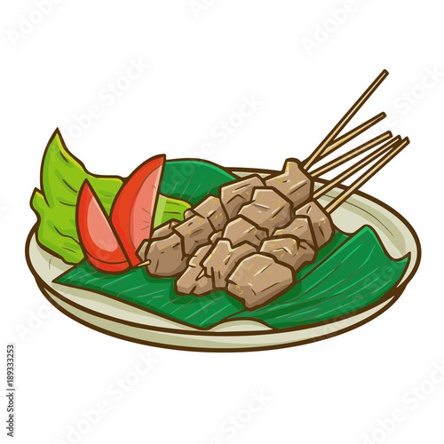 Cute And Yummy Sweet Beef Satay Or Sate Sapi Manis In Bahasa Indonesia A Traditional Food From Indonesia Very Famous And Delicious Vector Stock Vector Adobe Stock