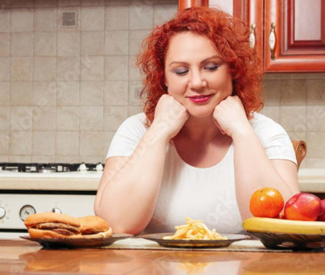 Big Woman Eat Fast Food Red Hair Fat Girl With Burger Potato And Fruit