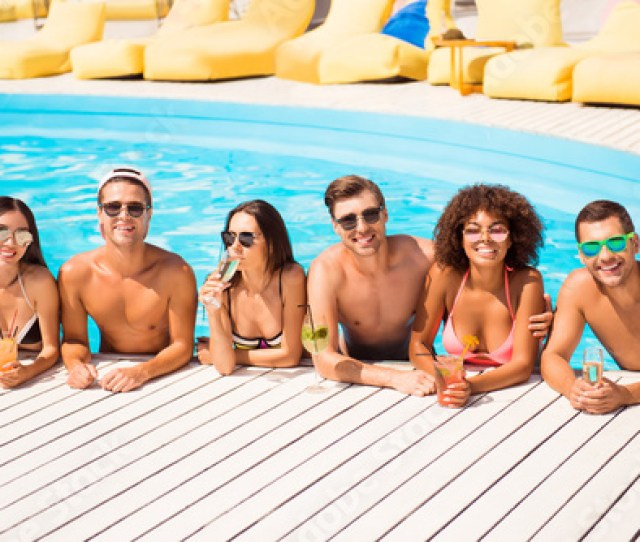 Six International Hot Teens Students In Diverse Swim Wear And Spectacles Are Chatting In The Pool
