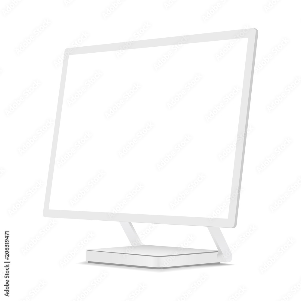 Photo Art Print White Computer Monitor Mockup With Perspective 3 4