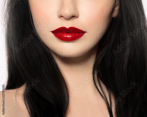 Lips With Red Shiny Lipstick