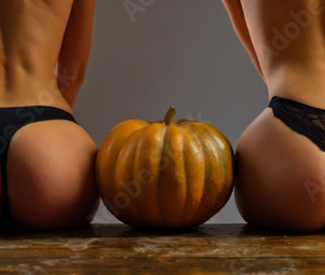 Pumpkins With Big Ass Female With Sexy Ass Posing Womens Clothing Store Celebrates Halloween