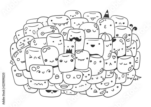 cute marshmallow monsters. doodle coloring page. hand
