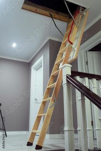 Folding Attic Ladder Wooden Pull Down Attic Folding Stairs In   Folding Attic Stairs With Handrail   Attic Remodel   Attic Renovation   Ceiling   Stira   Rainbow F2260