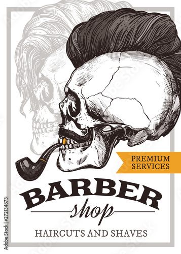hand drawn vector barber shop poster