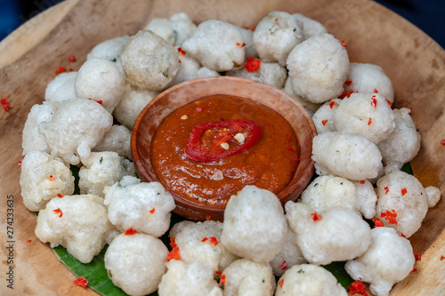 Cireng Is Traditional Food From Indonesia Fried Tapioca Flour Aka Cireng Is Delicious Traditional Food From Indonesia That Easy And Simple Snack Appetizers With Peanut Sauce Or Rujak Sauce Buy This