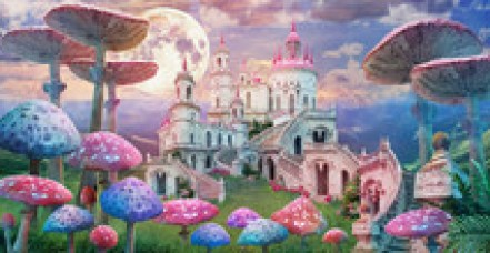 """Fantastic Landscape With Mushrooms. Illustration To The Fairy Tale """"Alice In Wonderland"""""""