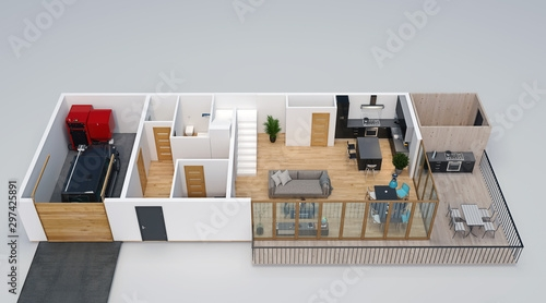 3D Floorplan Isometric View Of The House With Garage Terrace | Outdoor Stairs To Second Floor | Rooftop Deck | Inside | Porch | Wide | Second Level