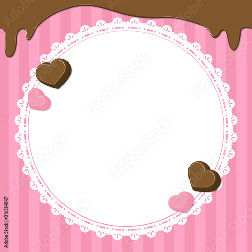 バレンタインデー背景素材(チョコレート、苺チョコ)