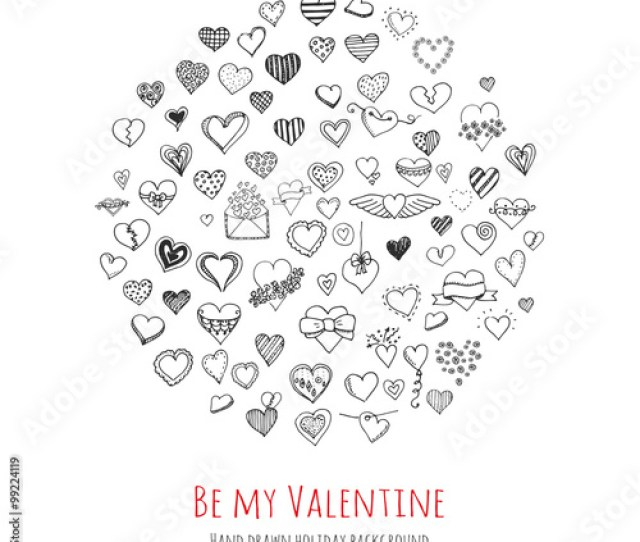 Set Of Hand Drawn Happy Valentines Day Symbols And Icons Sketchy Hearts Envelopes With Hearts
