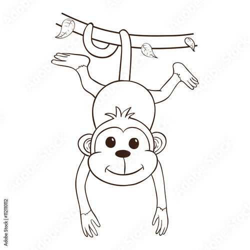 The Monkey Hanging On Green Vines Using Outline Or Line Art Buy This Stock Vector And Explore Similar Vectors At Adobe Stock Adobe Stock