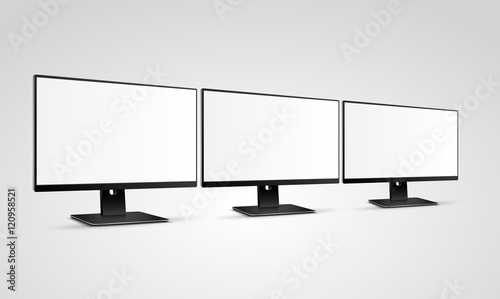 Three Modern Computer Monitors Mockup With White Blank Screen Buy
