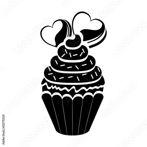 Download silhouette of sweet cupcake with chips and heart icon over ...