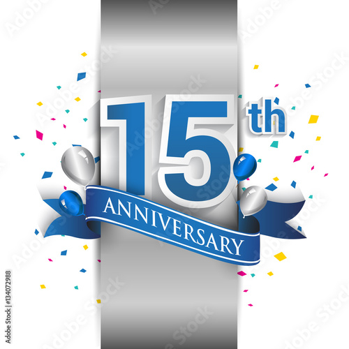15th anniversary logo with silver label