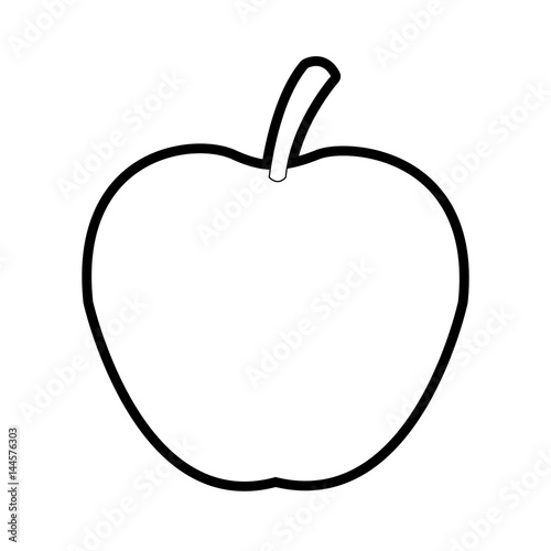 Apple Fruit Icon Image Vector Illustration Design Bold Black Outline Buy This Stock Vector And Explore Similar Vectors At Adobe Stock Adobe Stock
