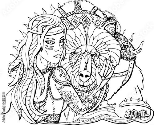 Раскраска для взрослых девушка воин и боевой медведь ...
