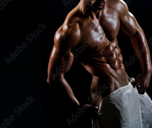 Naked Sexy Man With White Towel Man With Sensual Attractive Body And Athletic Muscles Strong Guy After Gym Or Shower Handsome Young And Fit Bodybuilder