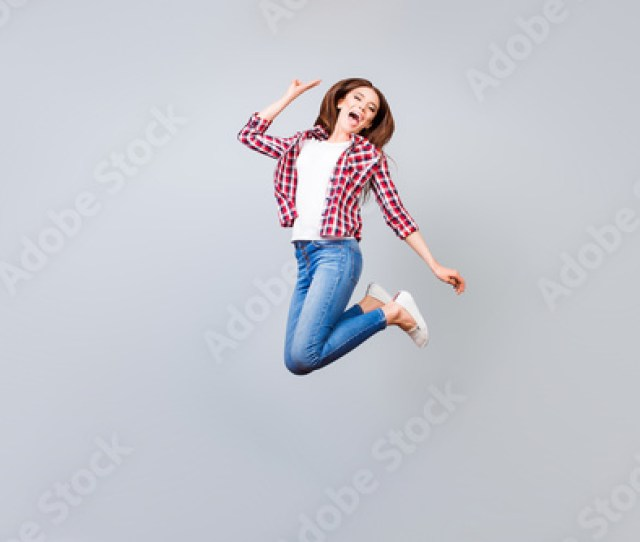Funky Happiness Dream Fun Joy Concept Very Excited Happy Cute Teen