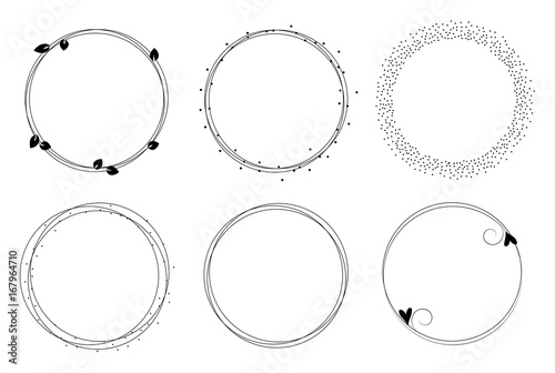 Set Of Vector Graphic Circle Frames Wreaths For Design Logo Template Buy This Stock Vector