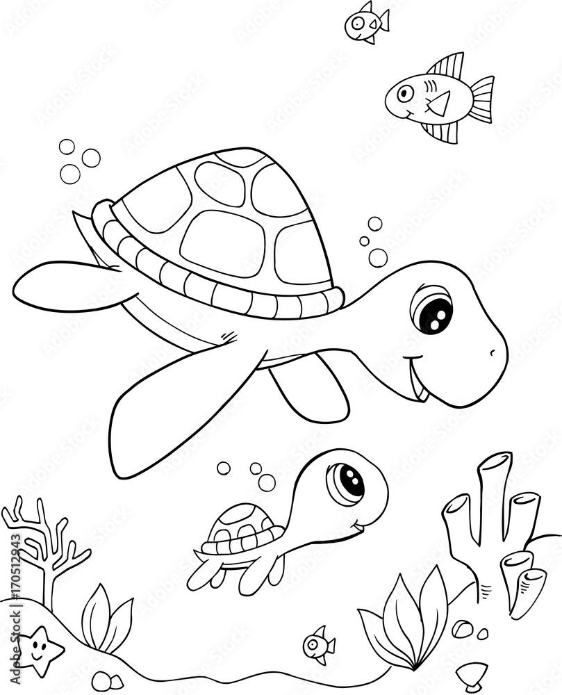 Wall Murals Cute Sea Turtle Vector Illustration Art Nikkel Art