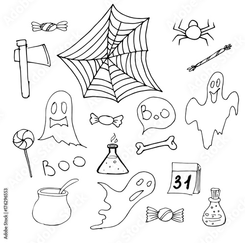 Our collection of diy halloween decoration ideas and spookily stylish fall mantel decor is sure to bring a little magic to your. Halloween Set Ot Hand Drawn Elements Halloween Decorations With Pumpkin Ghost Etc Vector Illustration Stock Vector Adobe Stock